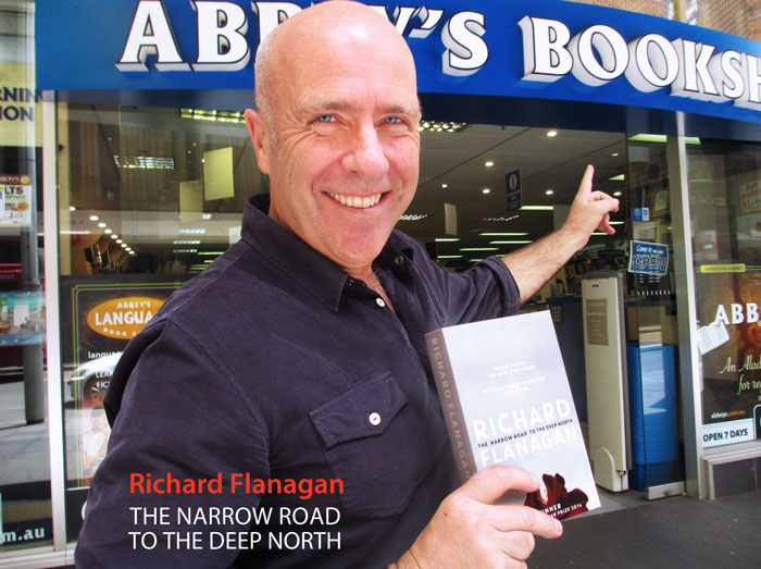 Richard Flanagan at Abbey's Bookshop in 2014 with The Narrow Road to the Deep North