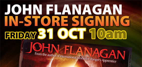 John Flanagan signing Scorpion Mountain at 131 York Street, Sydney