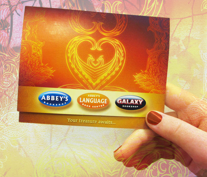 Gift Card presentation slip at Abbey's Bookshop 131 York Street, Sydney