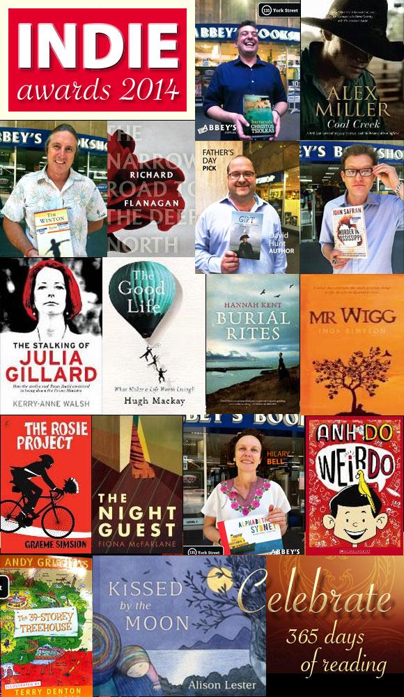 The Indie Awards 2014 books at Abbey's Bookshop 131 York Street, Sydney