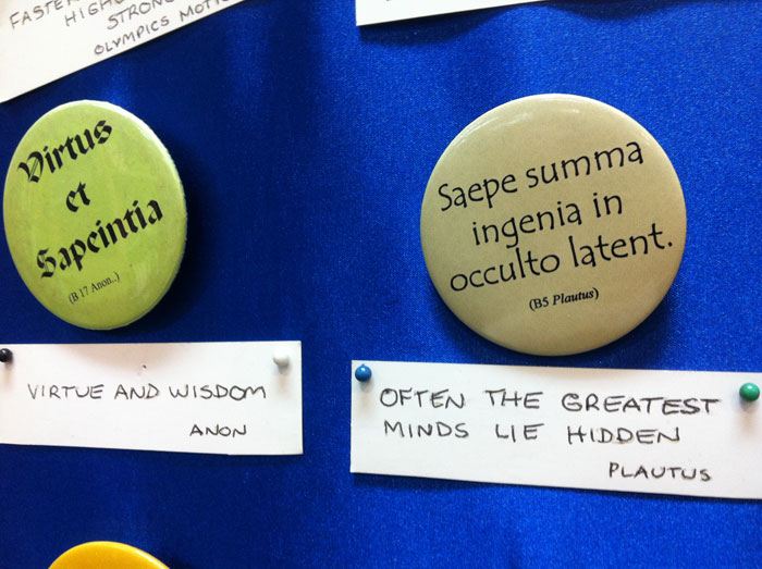 Latin Quotation Buttons at Abbey's Bookshop 131 York Street, Sydney