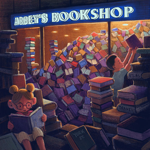 Illustration of Abbey's Bookshop by Mitchell Toy