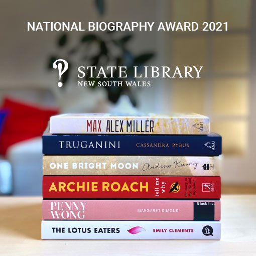 National Biography Award - stack of books on table
