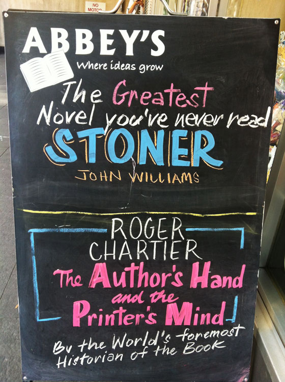 Stoner by John Williams at Abbey's Bookshop 131 York Street, Sydney
