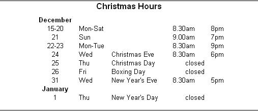 Christmas Hours 2014